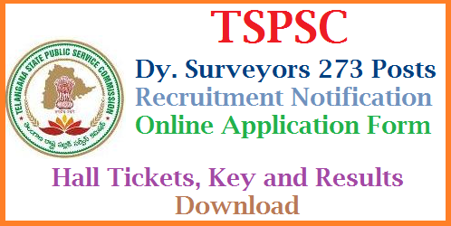 Online Applications are invited from Eligible and Intended Candidates for Dy. Surveyors 273 Posts for Direct Recruitment by TSPSC Telangana State Public Service Commission released Direct Recruitment Notification for 273 Deputy Surveyor Posts in Survey Settlement and Land Records Department of Telangana | District wise vacancies download here Online Application Form for Dy. Surveyors Qualifications, Eligibility Criteria Scheme of Examination Syllabus | Apply Online for Dy. Surveyor Posts in Survey Settlement and Land Records Dept Download Hall Tickets Key and Results at TSPSC Official Website http://tspsc.goc.in tspsc-deputy-surveyors-273-posts-recruitment-qualifications-syllabus-online-aaplication-form-download
