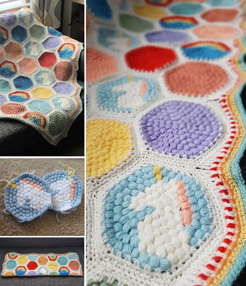 Hexipuff Unicorn Blanket - Free Pattern