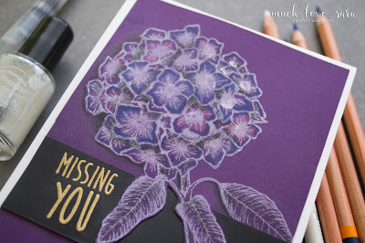 The Bloom Burst stamp set pops in shades of purple on this handmade card.  Using Fun Stampers Journey products.