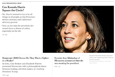 On the Monday after the weekend when Elizabeth Warren and Amy Klobuchar announced their candidacy for President, is there any new evidence that the NYT has already picked a winner?