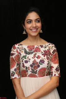 Ritu Varma smiling face Cream Anarkali dress at launch of OPPO New Selfie Camera F3 ~  Exclusive 048.JPG