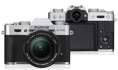 Tampilan bagian depan dan bagian belakang Fujifilm X-T10