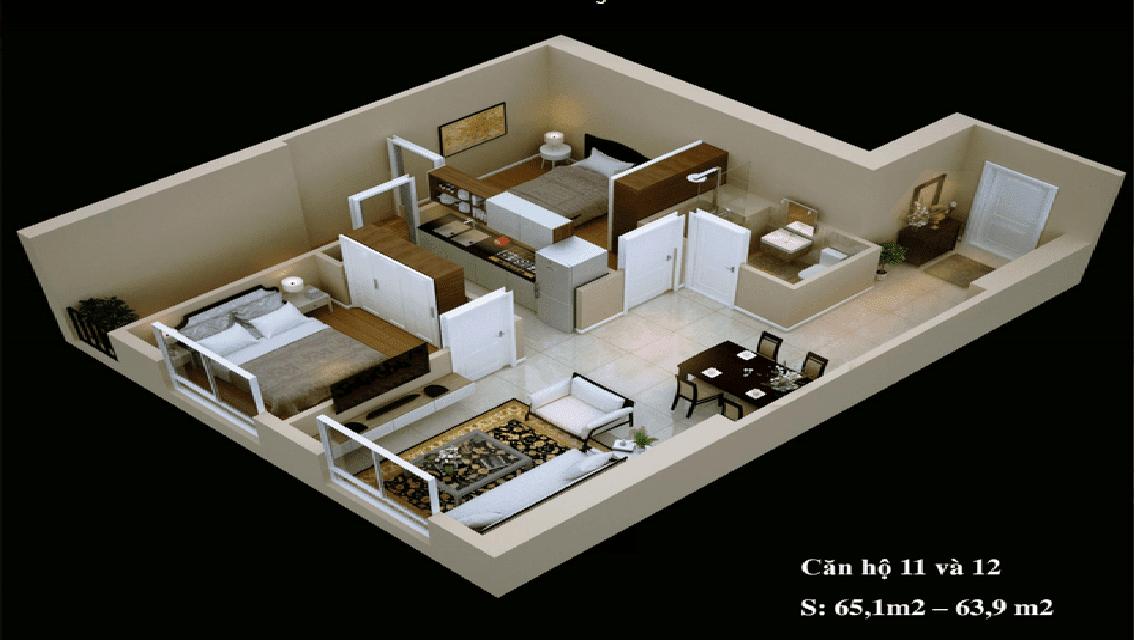 Mặt bằng căn hộ 11-12
