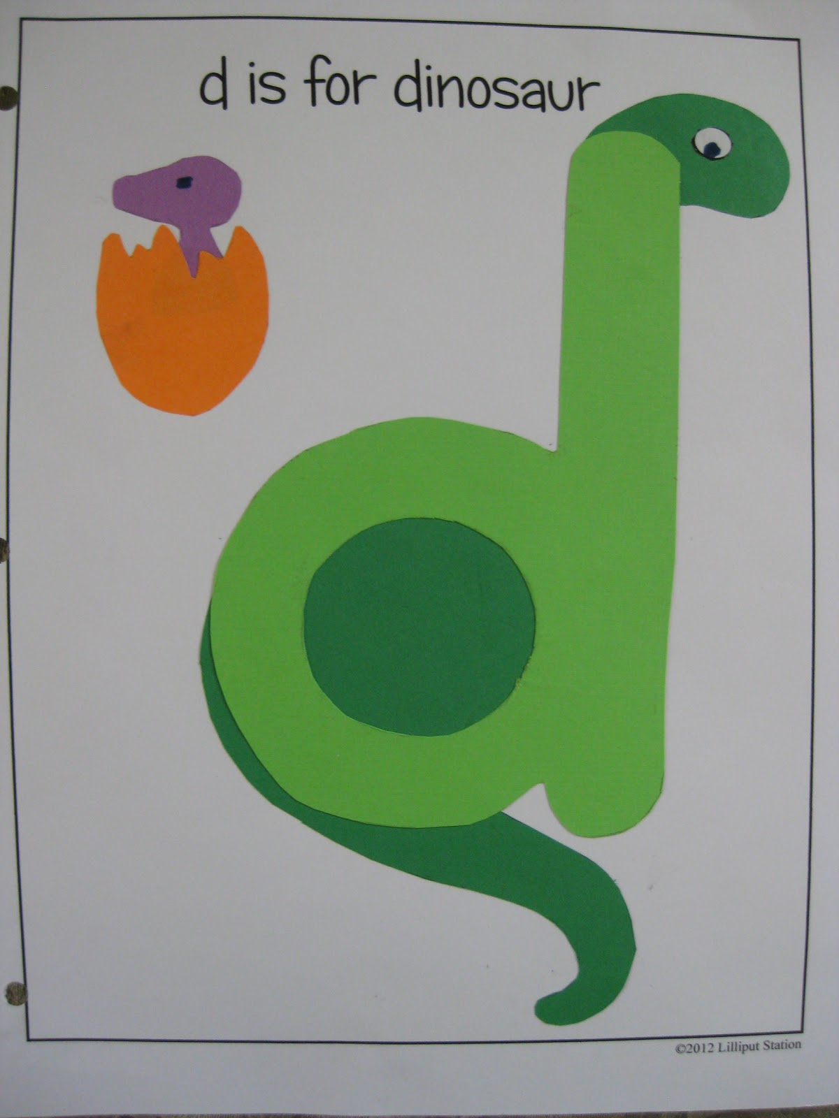 Lilliput Station D Is For Dinosaur Free Printable