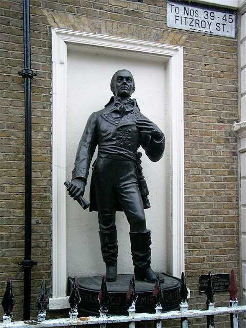 Copy of a statue of Francisco de Miranda by Rafael de la Cova, Fitzroy Street, Camden, London