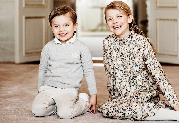 Princess Estelle wore Bonpoint Flannel dress cotton and wool long-sleeve dress. Crown Princess Victoria, Prince Oscar