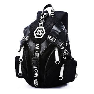Modern Korean Design Backpack Black Skin Pattern