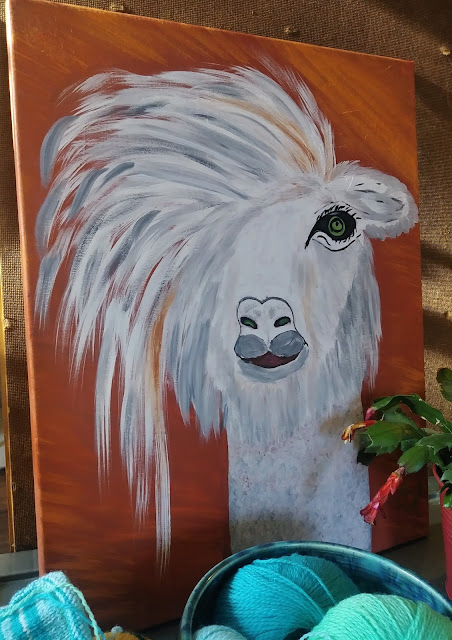 Original painting of a sassy lama from a local artist