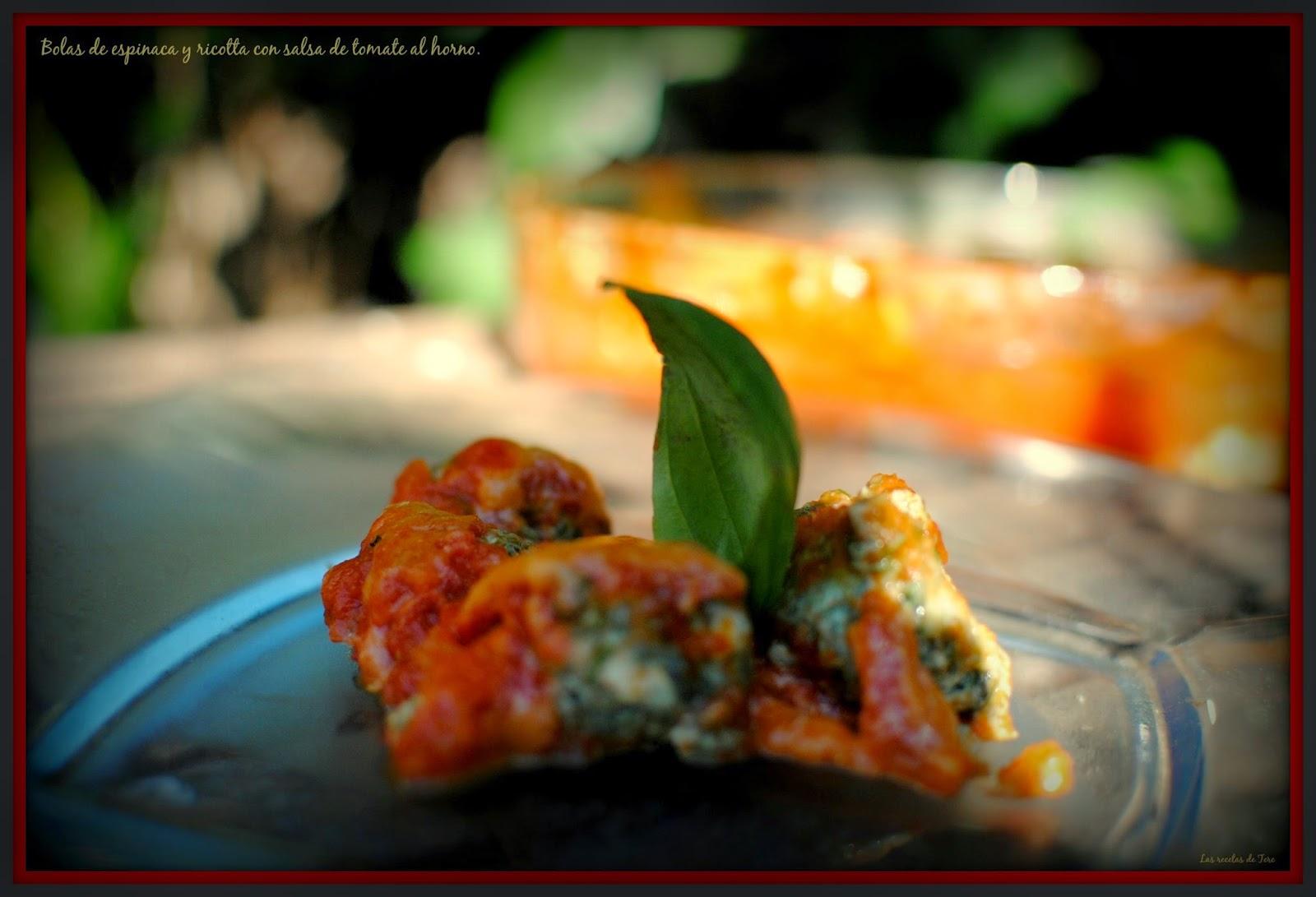 bolas de espinaca y ricotta con salsa de tomate al horno tererecetas 04