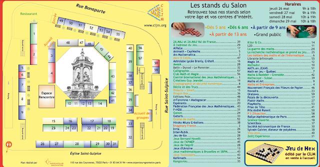 Plan des activités du Salon Maths et société du 26 au 29 mai 2016 Paris: