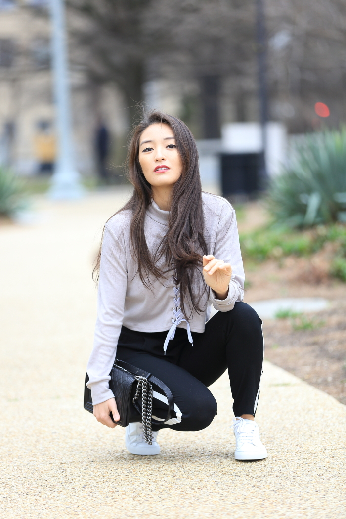 korean blogger wears greats shoes