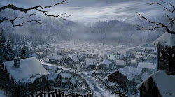 town winter magical fantasy medieval snow digital esq jerreth artwork mountains throes cityscapes