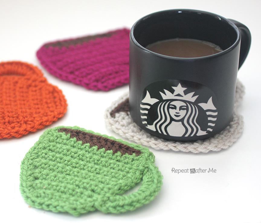 Free Crochet Mug Coaster Pattern : Starbucks Core Coffee Series and Crochet Coffee Coasters ...