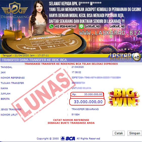 Mantap Dengan Kemenangan Besar Bermain Di Casino DG LASKAR4D!