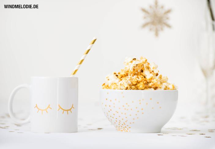 Tasse Geschirr gold bemalen DIY Popcorn Rezept gesund