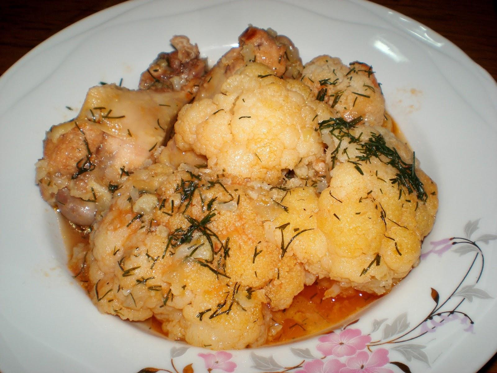 Mâncare de conopidă cu carne de pui