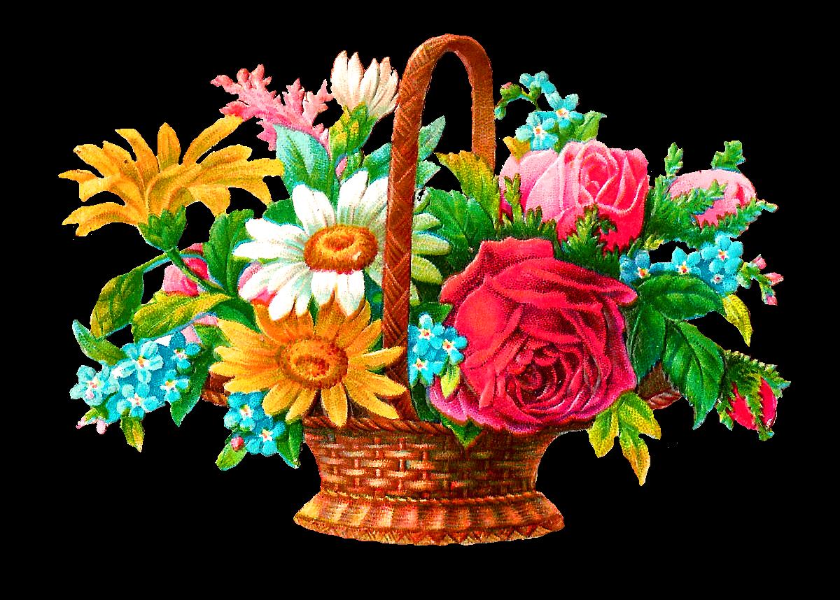 Clipart Flower Baskets : Antique images stock flower basket digital image