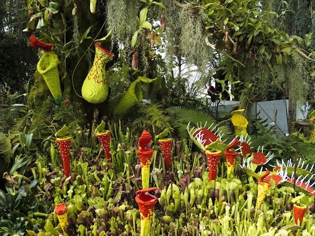 Lego display of carniverous plans at Gardens by the Bay in Singapore