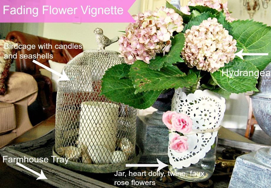 Farmhouse tray, hydrangea, seashells, white candle, faded blooms