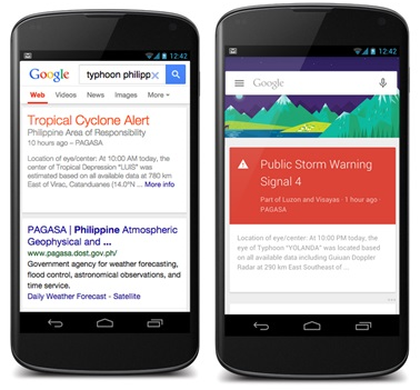 Public Alerts on Google Search and Google Now