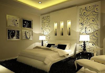 Kamar Tidur Minimalis dengan Wallpaper