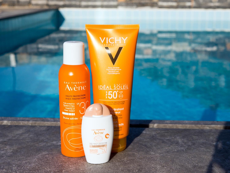 Koloryzujący fluid mineralny SPF 50+ oraz Mgiełka słoneczna SPF30 do twarzy i ciała marki Avene Ochronne mleczko do twarzy i ciała SPF 50 z linii Idéal Soleil marki Vichy