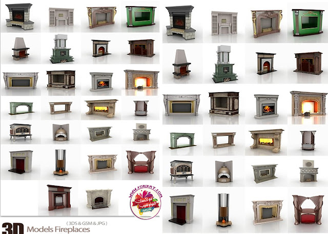 Download three-dimensional models Fireplaces