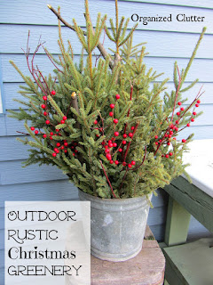 Rustic Outdoor Greenery Buckets #Christmas