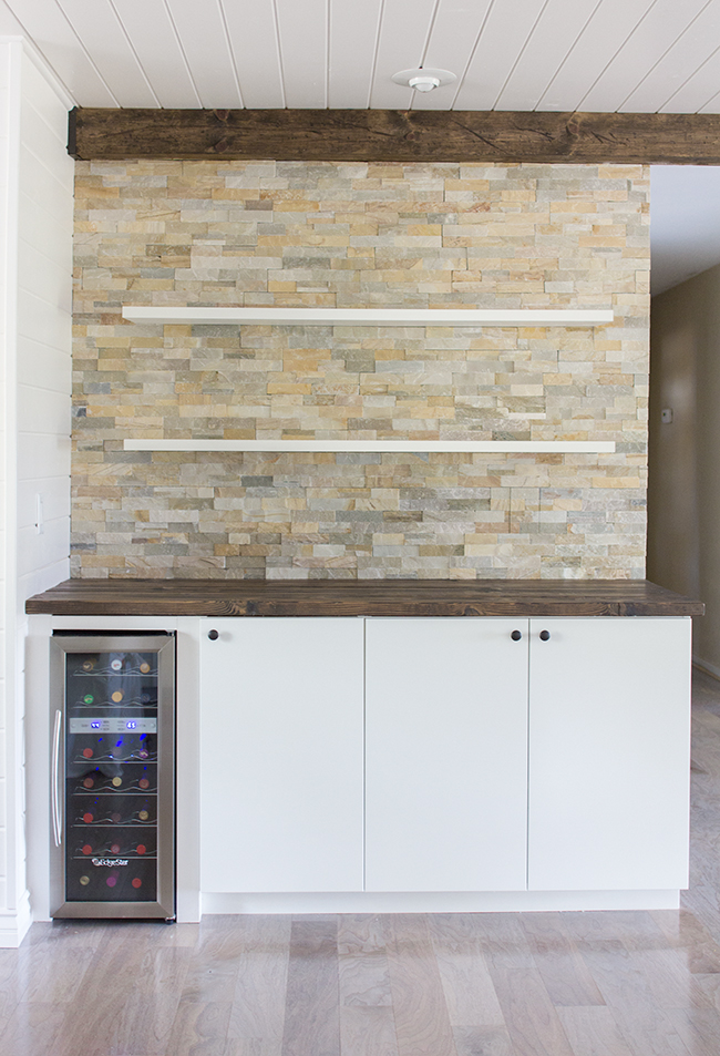 Floating Wall Shelves With Stone