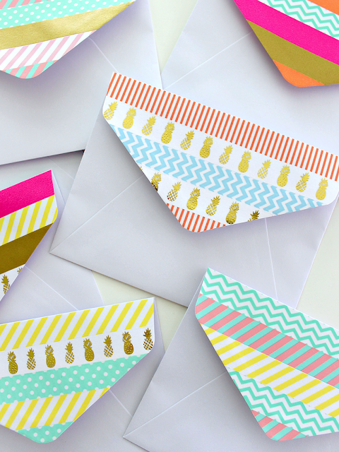 washi tape embellished envelopes