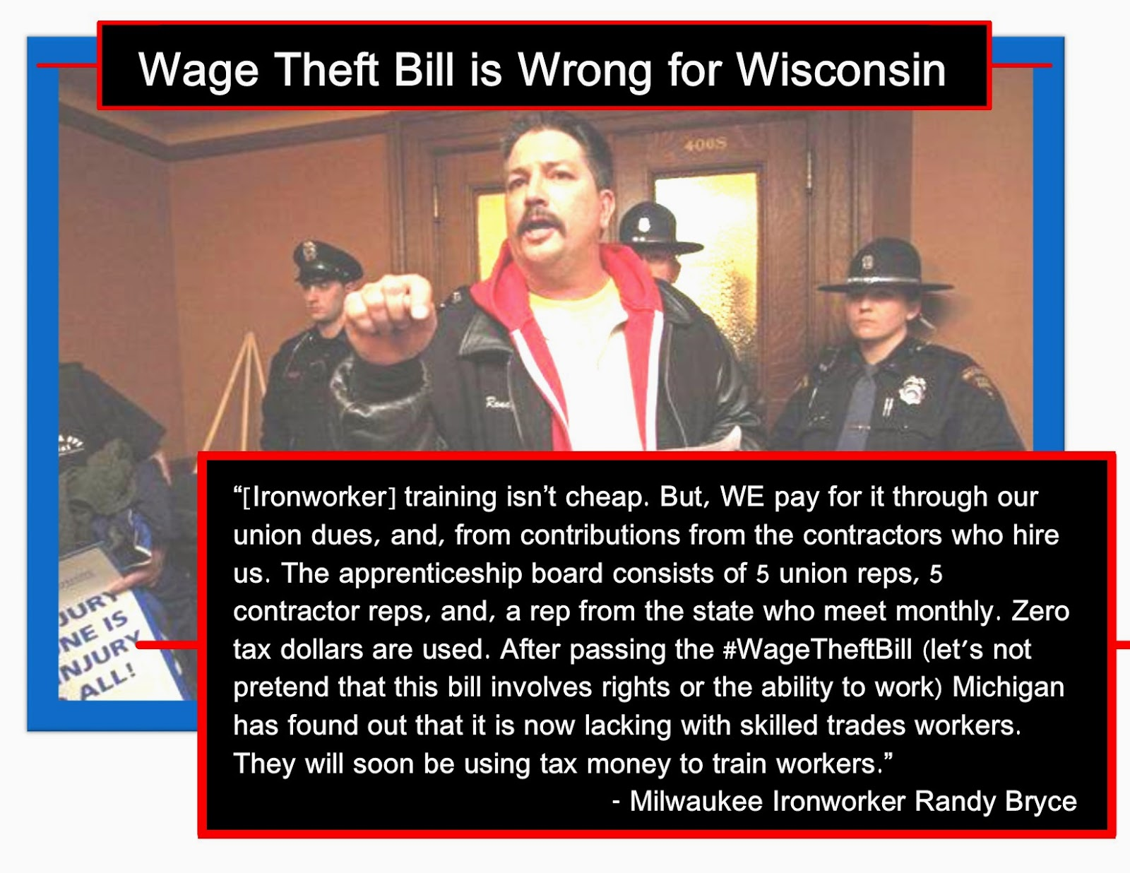 Monologues of Dissent: Ironworker: Wage Theft Bill will cost