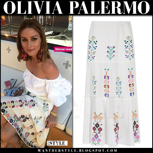 Olivia Palermo in white off shoulder top and white embroidered skirt melissa odabash what she wore august 2017