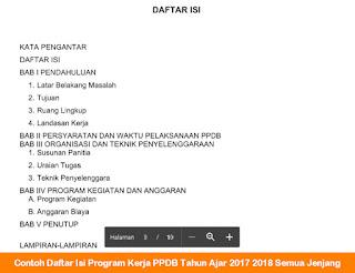 Contoh Daftar Isi Program Kerja PPDB Tahun Ajar 2017 2018 Semua Jenjang