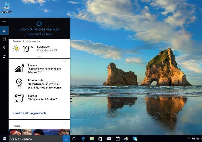 Cosa può fare Cortana Windows 10 previsioni meteo
