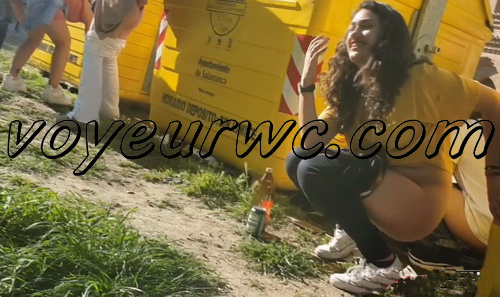 Girls Gotta Go 174 (Hidden videos of many girls taking a piss outdoor in public at a concert while being totally drunk)
