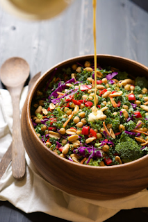 rainbow kale power salad with peanut dijon dressing