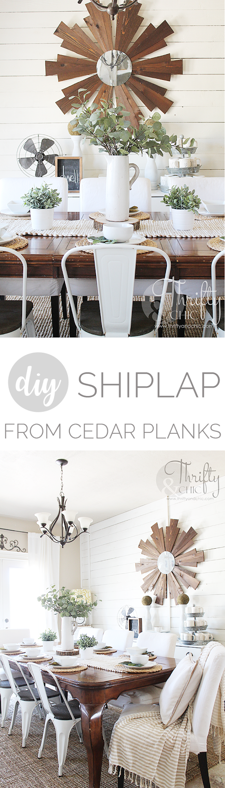 DIY shiplap wall tutorial. Shiplap made from cedar planks. Dining room farmhouse decor and decorating ideas. Fixer upper style dining room