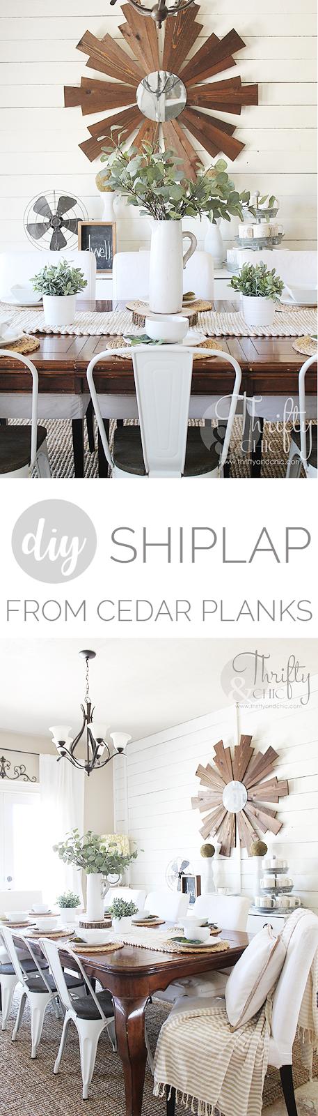 DIY shiplap wall tutorial. Shiplap made from cedar planks. Dining room farmhouse decor and decorating ideas. Fixer upper style dining room