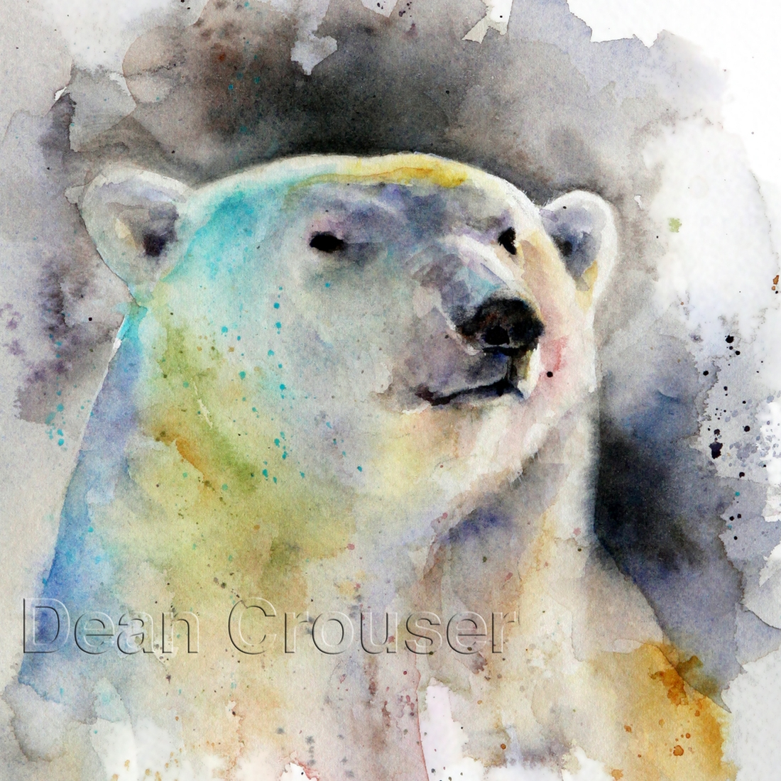 13-Polar-Bear-Dean-Crouser-A-Love-of-the-Outdoors-Spawns-Animal-Watercolor-Paintings-www-designstack-co