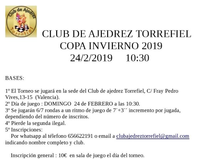 24 febrero, Copa invierno CA Torrefiel (blitz), limitado 30 inscripciones
