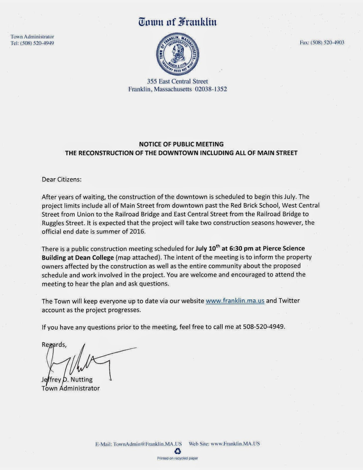 Franklin Downtown Partnership Reminder Pre Construction Meeting Thursday