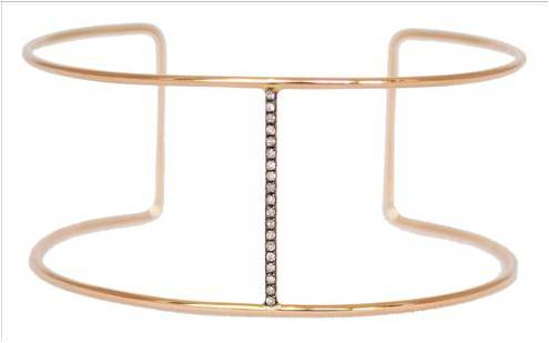 Andi Alyse Rose Gold Bracelet with Oxidized Gold Bar and Diamonds