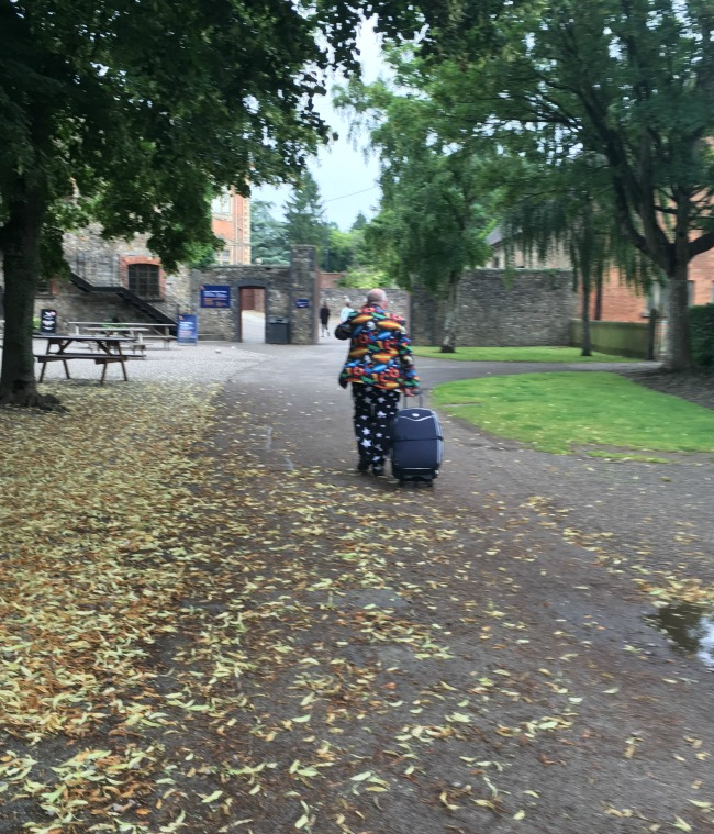 Tredegar-House-Part-II-A-Toddler-Explores-man-in-colourful-suit-walking-toward-Tredegar-house