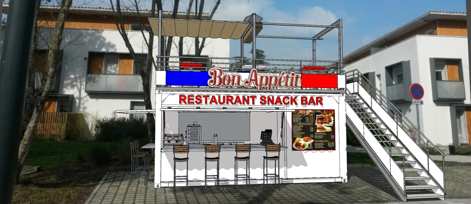 Containers am nag s snack bar restaurant coffee shop for Cout location algeco