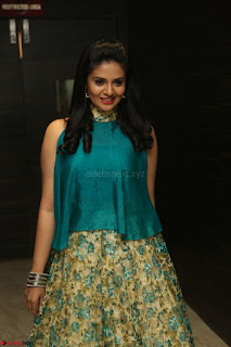 Anchor Srimukhi in green sleeveless top and skirt at O Pilla Nee Valla Movie Audio Launch Feb 2017 110.JPG