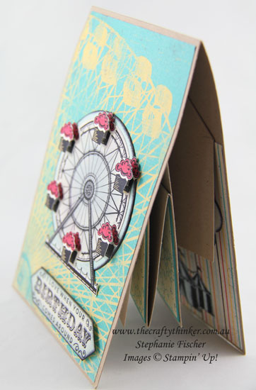 Pop & Twist fun fold, Cupcakes & Carousels, Birthday Card, #thecraftythinker, Stampin Up Australia Demonstrator, Stephanie Fischer, Sydney NSW