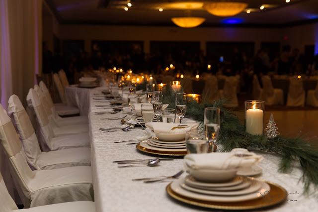 plate display for winter wedding at Italian American Cultural Center in Clinton Township
