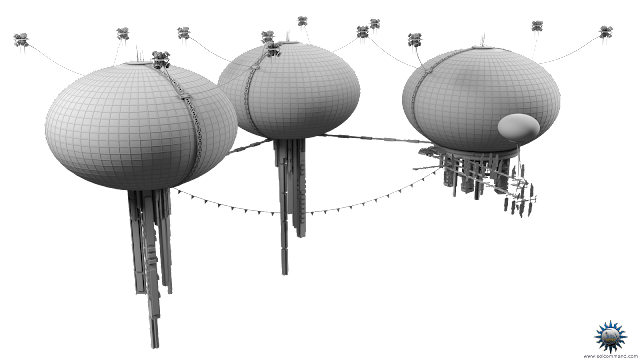 venus floating city cloud aerostat atmosphere futuristic scifi hanging skyscrapper balloon solar panels industrial