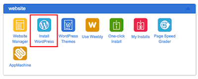Instal ikon WordPress di dasbor cPanel Bluehost