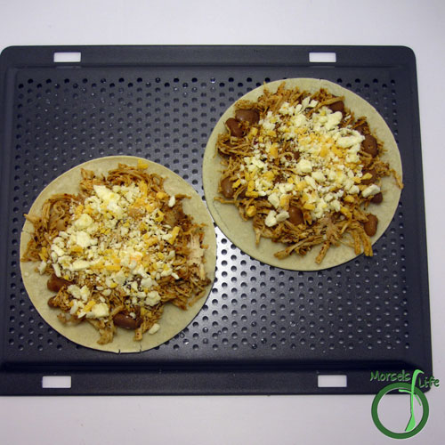 Morsels of Life - Chicken Bean Quesadillas Step 3 - Top tortilla with 3-4 chicken mixture, and then cheese if you didn't mix it in step 2.